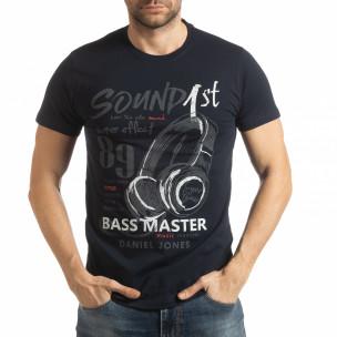 Tricou pentru bărbați Sound albastru închis