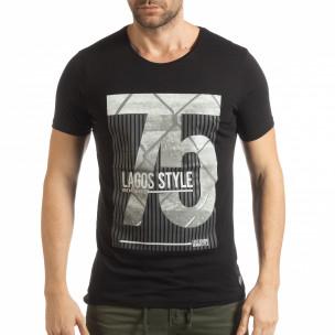 Tricou pentru bărbați negru cu imprimeu Lagos Style