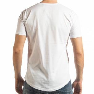Tricou pentru bărbați alb cu inscripție  2