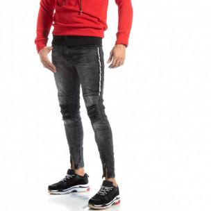 Worn Jeans în gri cu accente pentru bărbați