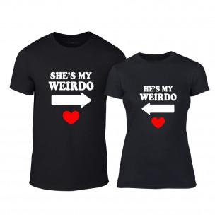 Tricouri pentru cupluri Weirdo negru TEEMAN