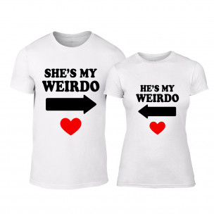 Tricouri pentru cupluri Weirdo alb TEEMAN