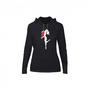 Tricou de dama Half Heart negru, Mărime M