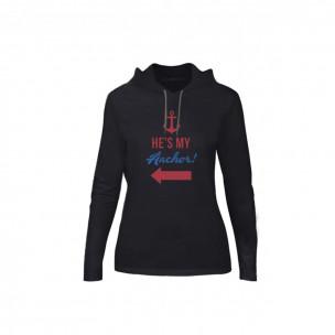 Tricou de dama Sail Anchor negru, Mărime S