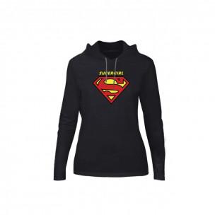 Hanorac de dama Superman & Supergirl negru, Mărime S