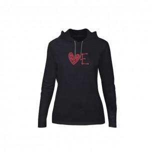 Tricou de dama LOVE negru, Mărime M